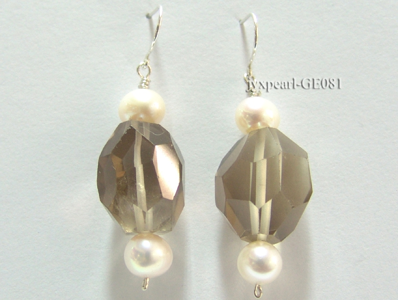8.5-9mm Round Faceted Smoky Quartz and White Freshwater Pearl Earrings