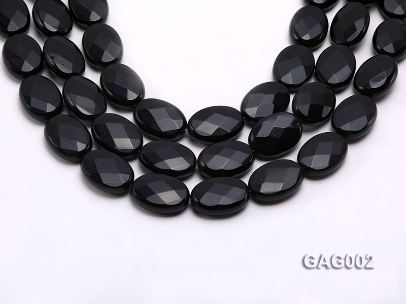 wholesale 18x25mm black faceted oval shape agate strings