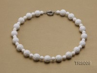 8mm &14mm Round White Tridacna Beads Necklace