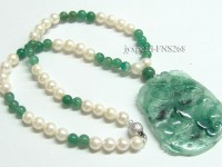 7-8mm Natural White Round Freshwater Pearl with Jade Necklace Pendant