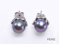 8-9mm Black Flat Cultured Freshwater Pearl Earrings