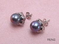 8-9mm Black Flat Cultured Freshwater Pearl Earrings