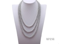 Super Long 8mm round grey seashell pearl necklace