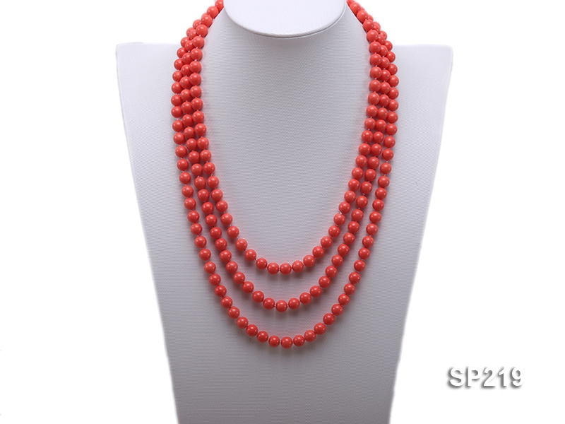 8mm super long Coral-red seashell necklace