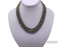 3 strand 6-7mm dark green round freshwater pearl necklace