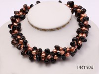 7x9mm Orange Freshwater Pearl and Smoky Quartz Beads Necklace and Earrings Set