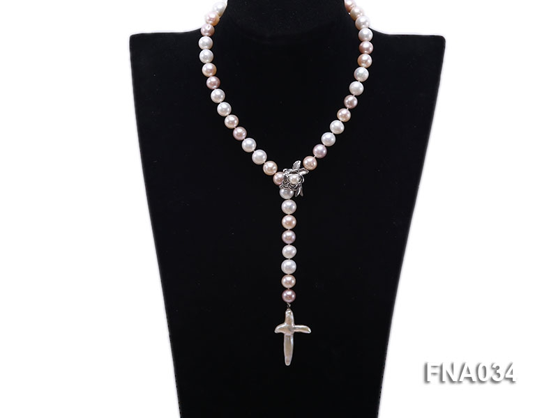 Classic White, Pink and Lavender Freshwater Pearl Necklace with a Cross-shaped Pendant