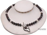 Classic 9-10mm White & Black Cultured Freshwater Pearl Necklace with a Gilded Pendant
