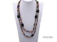 7-8mm multi-color freshwater pearl with carved black agate and crystal necklace