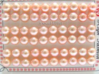 Wholesale Cards of AA-grade 9-9.5mm Pink Flat Pearls—30 Pairs