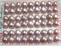 Wholesale Cards of 10-10.5mm Lavender Flat Pearls—27 Pairs