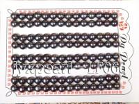 Wholesale Sheets of AA-grade 6.5-7mm Black Flat Pearls—56 Pairs