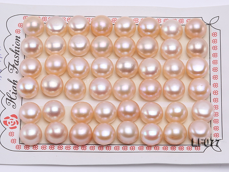 Wholesale Cards of AA-grade 11.5-12mm Natural Pink Flat Freshwater Pearls—24 Pairs