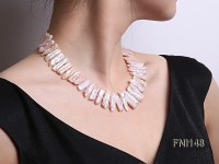 Classic 7×20-7.5x25mm Pink Tooth-shaped Freshwater Pearl Necklace