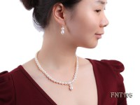 7-8mm White Freshwater Pearl Necklace and Earrings Set