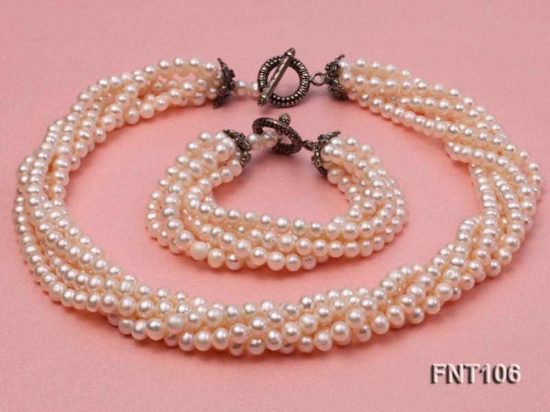 Five-strand 5-6mm White Freshwater Pearl Necklace and Bracelet Set