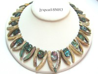 Colorful Abalone Shell Pieces Necklace