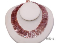Button-shaped Lavender Shell Pieces Necklace