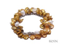yellow and white button freshwater pearl bracelet