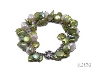 green and white button freshwater pearl bracelet