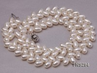 7*10mm natural white selected oval freshwater pearl single strand necklace
