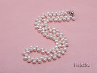 5*8mm natural white oval freshwater pearl single strand necklace