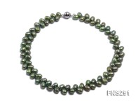 5*8mm green selected oval freshwater pearl single strand necklace