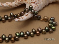 8*15mm green freshwater pearl single strand necklace