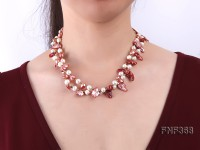 Two-strand White and coffee Cultured Freshwater Pearl Necklace