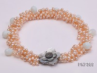 Four-strand 5-6mm Pink Freshwater Pearl Necklace with drop-shaped Moonstone