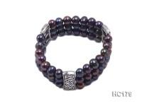 3 strand 8-9mm round black freshwater pearl bracelet