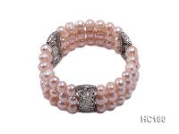 3 strand 8-9mm pink round freshwater pearl bracelet