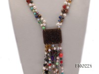 7-8mm multicolor freshwater pearl necklace with gemstone pendant