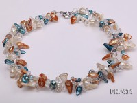 Two-strand White, Blue and Brown Baroque Freshwater Pearl Necklace with Crystal Beads