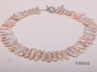 Classic 7×19-9x25mm Pink Tooth-shaped Freshwater Pearl Necklace