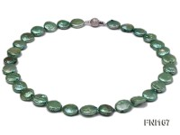 Classic 12-14mm Green Button Freshwater Pearl Necklace