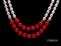 2 strand white oval freshwater pearl and coral necklace
