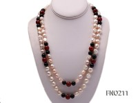 11-13mm natural pink baroque freshwater pearl with black and red agate necklace
