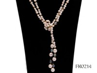 7-8mm white round FW pearl and alternated with jewelry accessories beads opera necklace