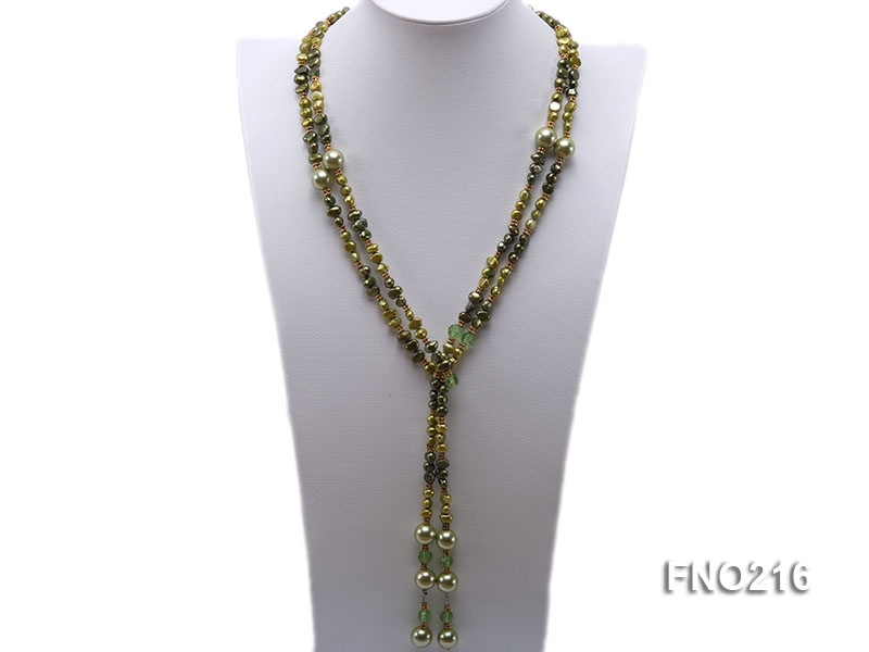 7-8mm green freshwater pearl green crystal and green shell beads and jewelry accessories necklace