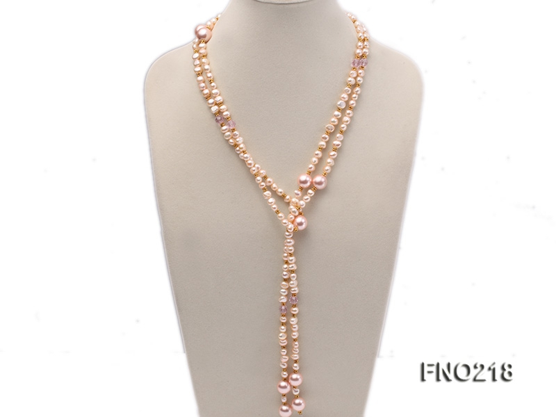 7-8mm natural pink flat freshwater pearl with seashell pearl beads necklace