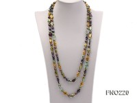 10*15mm multicolor cross freshwater pearl with crystal opera necklace