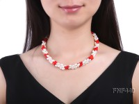 Three-strand 6x8mm White Freshwater Pearl and Red Coral Beads Necklace