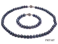 7.5-8.5mm Black Freshwater Pearl Necklace and Bracelet Set