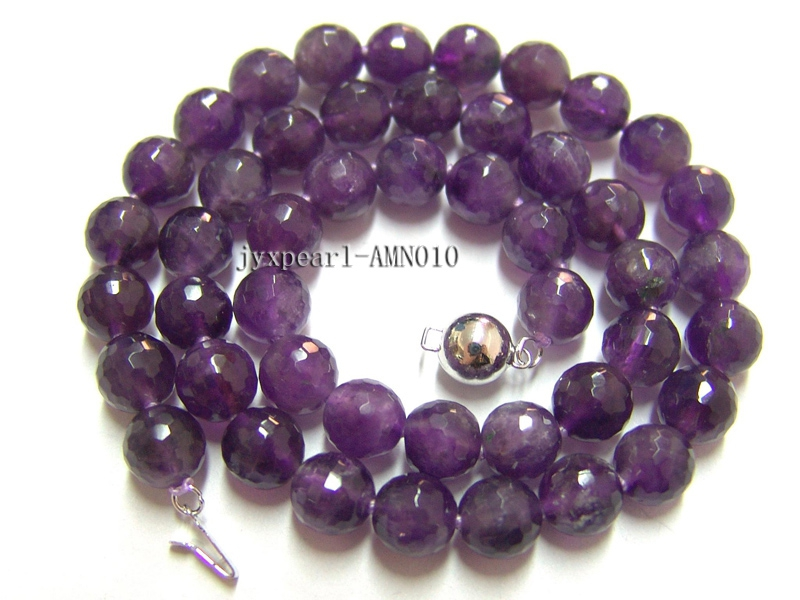 8mm Round Faceted Amethyst Beads Necklace