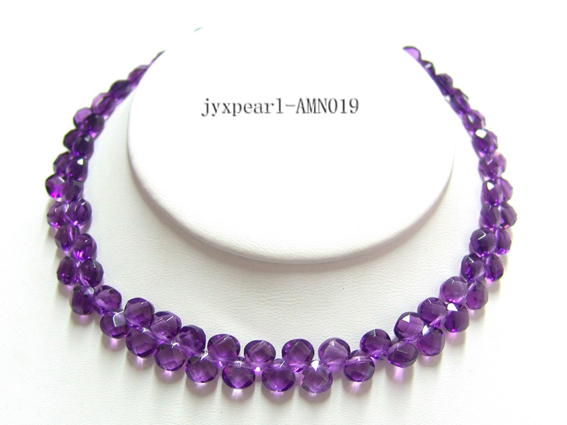 7.5mm Faceted Amethyst Beads Necklace