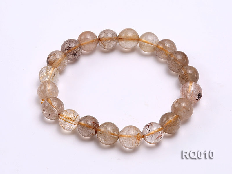 10mm Rutilated Quartz Beads Elastic Bracelet