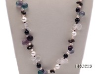 8-9mm natual white freshwater pearl with natural fluorite and smoky quartz necklace