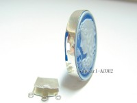 30x40mm Three Strand Sterling Silver Resin Cameo Clasp