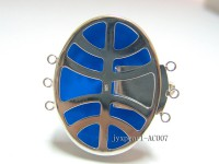 30x40mm Three-row Silver-Edged Blue Resin Cameo Clasp